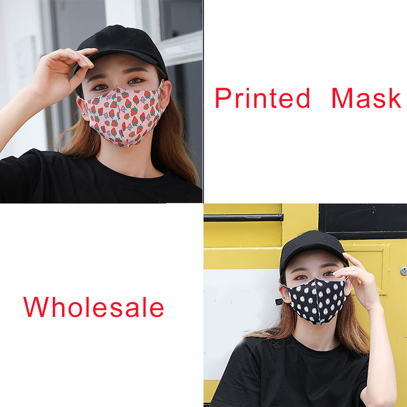 Strawberry Pattern Ice Silk Fabric Womens Mask For Sun Trendy Fashion Printing Mouth Face Masks Solid Mouth-muffle Unisex Korean