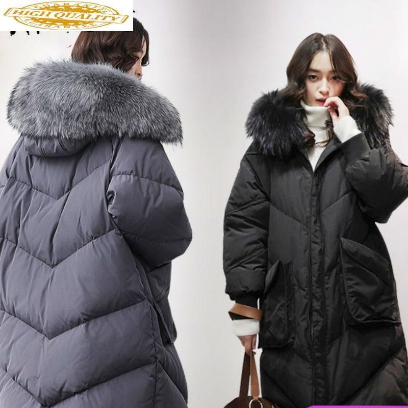 Winter Coat Women 90% Duck Down Jacket Women Real Raccoon Fur Collar Puffer Jacket Women Down Coat Warm Parka YS61015001 YY1602