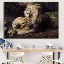 Modern Two Lions Oil Painting on Canvas Posters and Prints Cuadros Wall Art Pictures For Living Room Decor african large lions face canvas paintings on the wall art posters and prints animals lions art pictures for living room cuadros