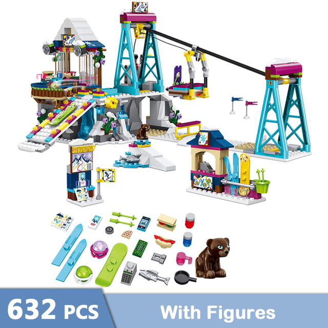 632 Uds de nieve de invierno esquí ascensor Cable bloques de construcción de automóviles compatibles chicas amigos ladrillos juguetes para los niños GB03