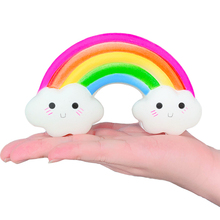 Kawaii Rainbow Smiley Soft Squishy Toys For Children Slow Rising Scented Squeeze Stress Relief Toys Kids Xmas Gift Wholesale