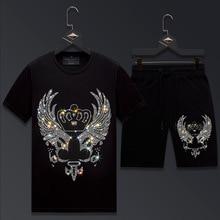 2021 Men Clothing Sportswear Crown Rhinestones Suit Fitness Short Mens Track Suit Set 2 Pieces Casual Jogger Sets Plus Size 6XL