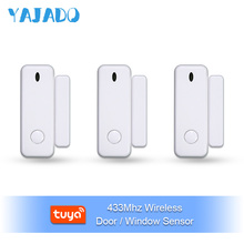 YAJADO 433Mhz Wireless Door/Window Sensor Tuya Smart Door Magnet Window Detector For Home Security Alarm System