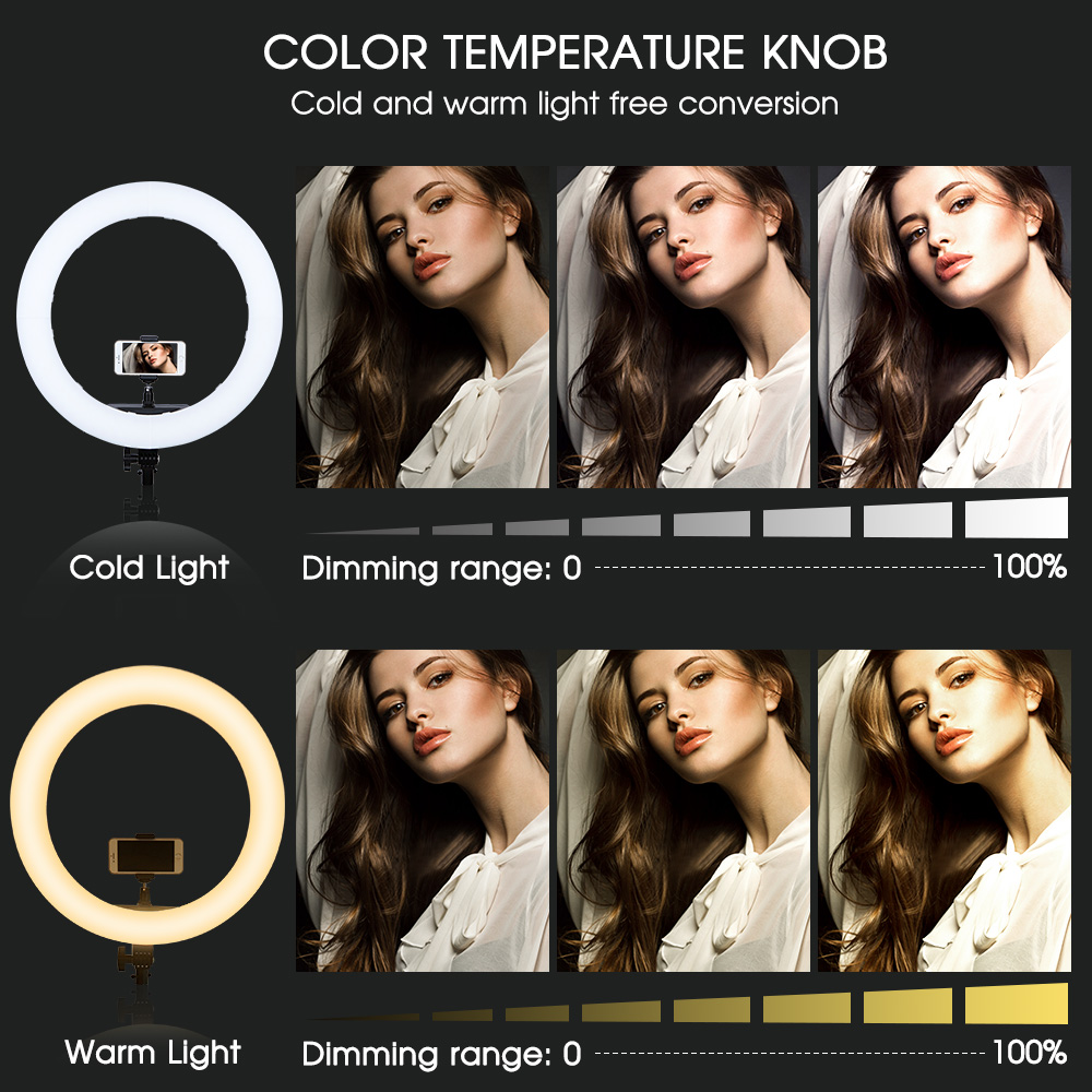 SAMTIAN photo studio lighting ring light 18inch 512 PCS LED ring lamp Dimmable Bi color With tripod for YouTube makeup ringlight-in Photographic Lighting from Consumer Electronics    2