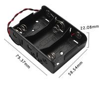 MasterFire 300pcs/lot New Black DIY Storage Box Holder Battery Case 3 Slots C Size 4.5V Batteries Cell Cover with Wires