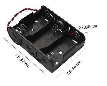MasterFire 300pcs/lot New Black DIY Storage Box Holder Battery Case 3 Slots C Size 4.5V Batteries Holder Cell Cover with Wires