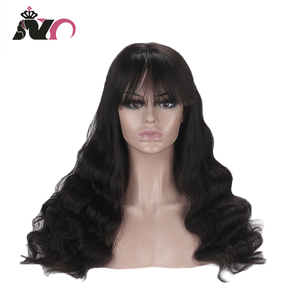 NY Remy Hair Long Hair Natural Color Wig With Bangs Full Machine Made Wig Body Wave Wigs Human Hair Wigs For Black Women