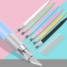 цены Plastic Handle Scalpel 12 Blades Knife Wood Paper Cutter Craft Pen Knives Engraving Knife DIY Repair Hand Tools Carving Gift