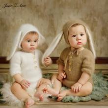 Jane Z Ann 3 6 ay bebek fotoğraf kostüm bebek el yapımı örme ayı tavşan giysileri yağlıboya serisi tema stüdyo aksesuarları