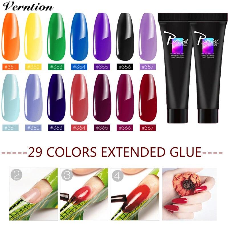 Verntion Poly Gel Manicure Set Extend Builder Polygel Kits Finger Nail Extension UV LED Acrylic Builder Gel Lamp Crystal Jelly