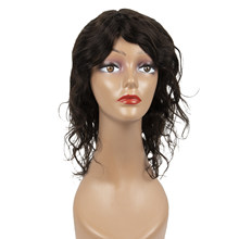 Acessível ombro comprimento grande solto encaracolado 2 # luz peruca marrom 100% cabelo humano mais baixo maintaince máquina completa feita não laço unidade