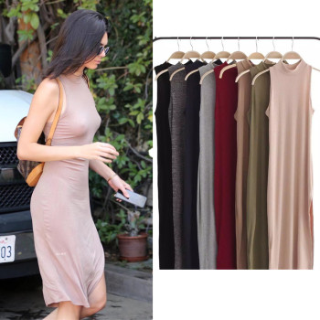Kendall Jenner Star Same Style Summer Women Sexy Sleeveless Slim Split Dress Solid Color Knee-Length Bodycon Dress