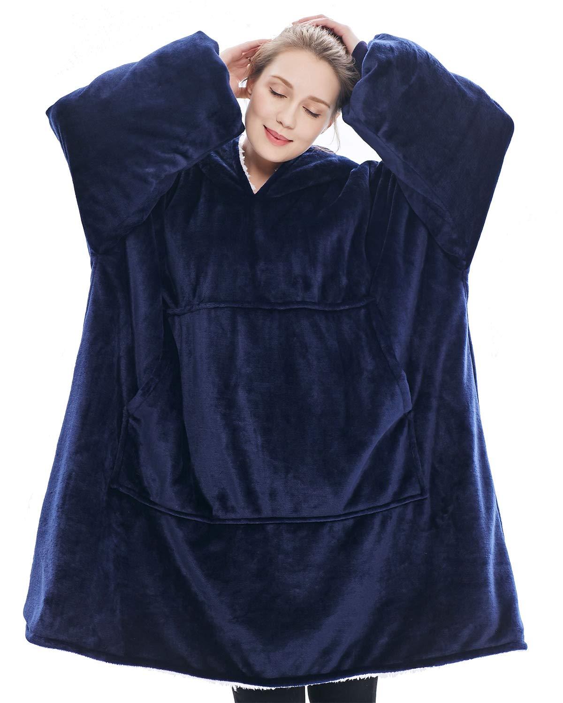 Winter FleeceBlanket With Sleeves Oversized Hoodies Sweatshirts Plaid Adult Giant For Women Hoody Sudadera Mujer Moletom Femini