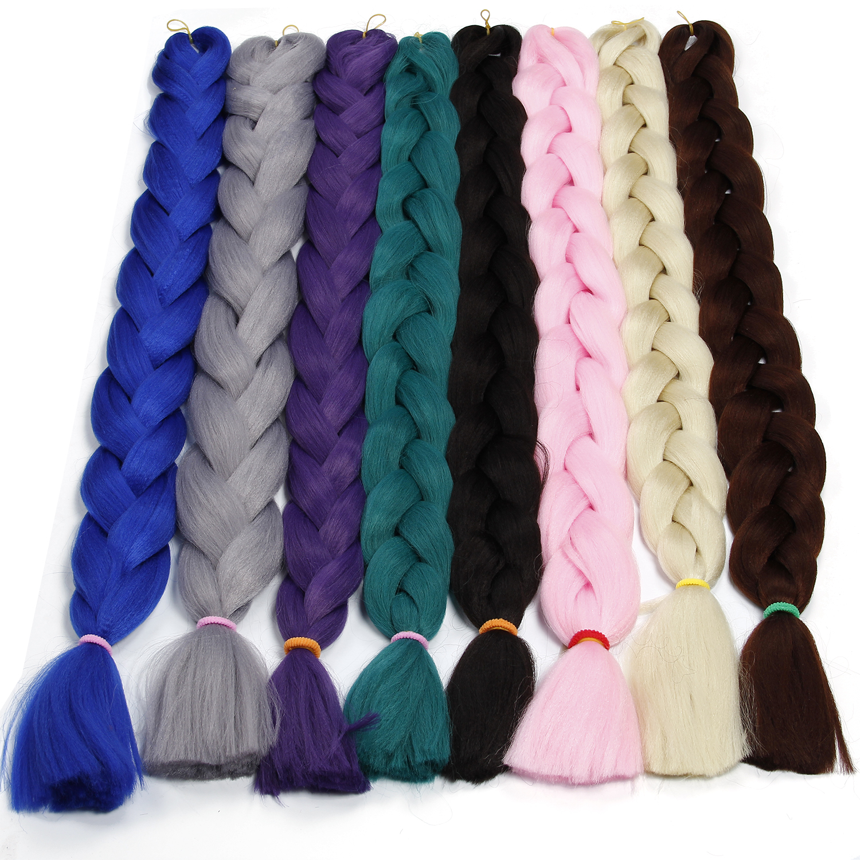 Synthetic Braiding Hair Extension 82'' 165g Crochet Hair Black Long Jumbo Braid Crochet Xpression Braiding Hair Kanekalon