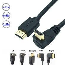4K * 2K 60HZ HDMI 2.0 cavo di 90 gradi Imbottiture & Up & Sinistra e Destra ad angolo cavo HDMI 2.0 3M 1.5M 1M 3D supportati Fino a 3840X2160/60HZ