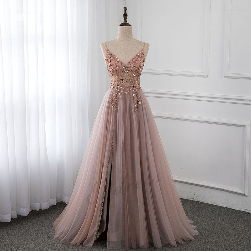 Sparkly Prom Dress Women 2019 Beading Crystal Straps Spaghetti Prom Dresses Long See Through Tulle Evening Gown Dress