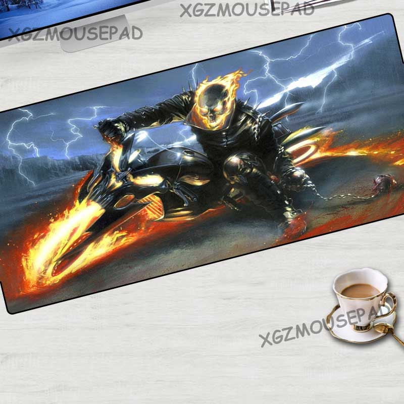 XGZ Large Mouse Pad Black Lock Edge Devil Motorcycle Movie Office Computer Desk Mat Rubber Non-slip Custom Fashion Coasters