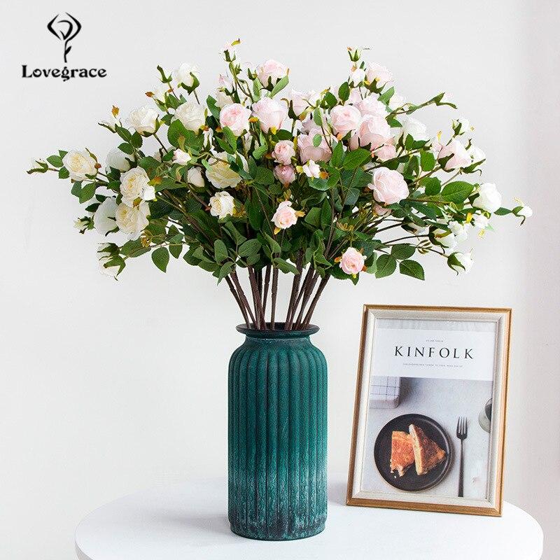 Lovegrace DIY Bouquet Artificial Flower 7 Heads Silk Rose Flower Arrangement Bridal Prom Party Wedding Supplies Marriage Decor