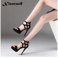 цена на 2020 Womens Thin Heels Shoes 11CM Peep Toe Platform High Heels Sandals Female Ladies Sexy Party Wedding Black Shoes Zip Pumps