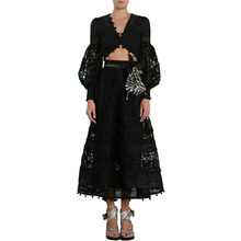 Dress Women Winter Two Piece Set Umbilical Lace Openwork Top Skirt Two-piece Suit Long Sleeve V-neck Clothes Party
