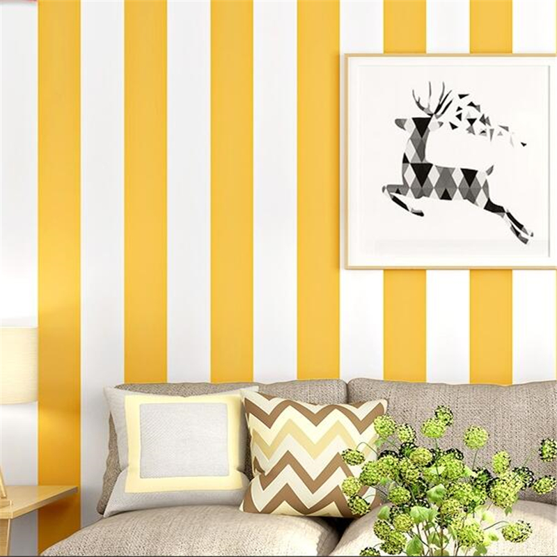 wellyu Warm yellow wallpaper vertical stripes modern minimalist bedroom living room children's room TV background wall paper