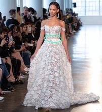 Eslieb uma linha de renda vestido de casamento 3d 2020