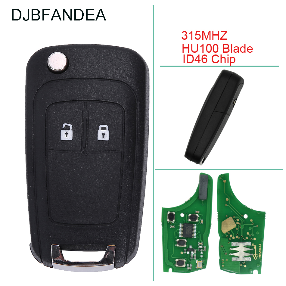 DJBFANDEA 315Mhz Car Remote key Fob For <font><b>Chevrolet</b></font> Aveo <font><b>Cruze</b></font> Orlando 2008 <font><b>2009</b></font> 2010 2012 2011 2013 <font><b>2014</b></font> 2Buttons ID46 Car key image