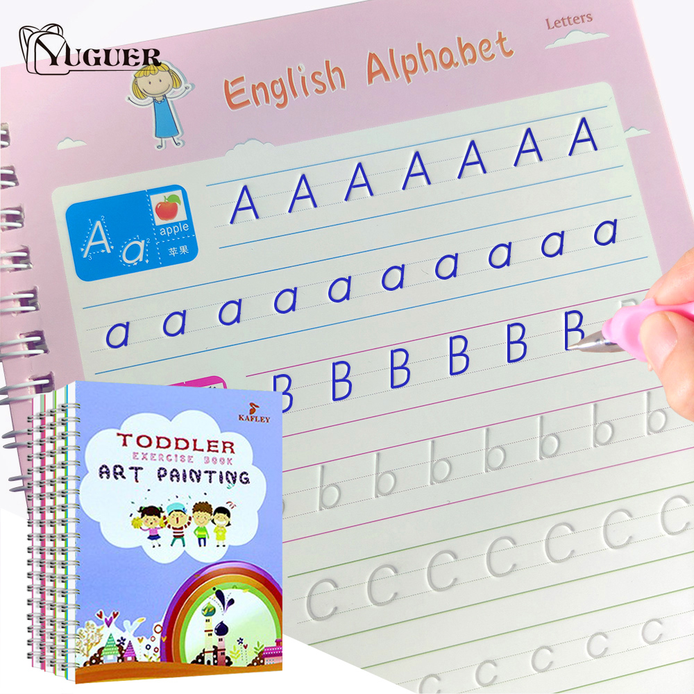 Newest 4 Books Of Handwriting English 3D Copybook Calligraphic Magic Education Practice Reusable Stationery Book Toy For Kid