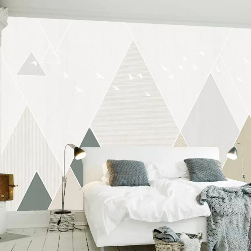 3D Cool Nordic Minimalist Geometry TV Backdrop Wallpaper Modern Style Wallpaper Light Color Triangular Mural