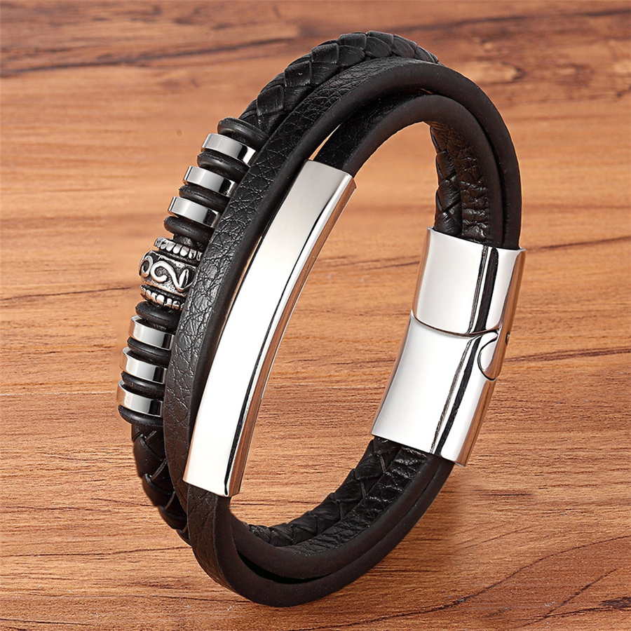 Stainless Steel Genuine Leather Bracelet For Men Geometrically Irregular Graphics Black Brown Color Accessories Jewelry