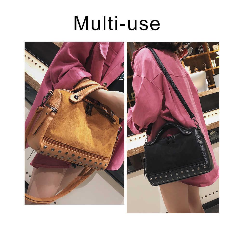 Herald mode grande capacité en cuir femme sac à bandoulière femmes haut-poignée sacs avec Rivets rétro moto fourre-tout sacs 2019 chaud
