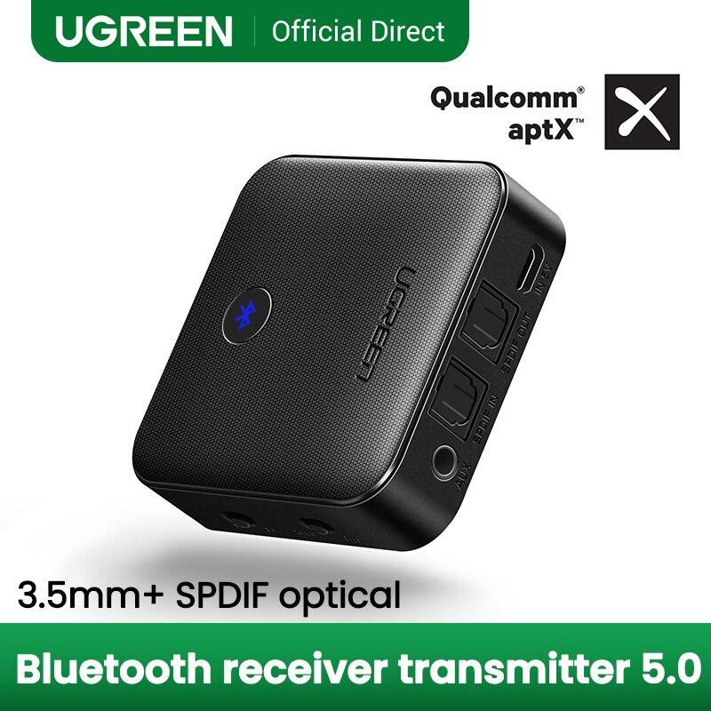 UGREEN Bluetooth 5.0 émetteur récepteur APTX HD 2 en 1 adaptateur Audio sans fil numérique optique TOSLINK 3.5mm prise AUX pour TV PC