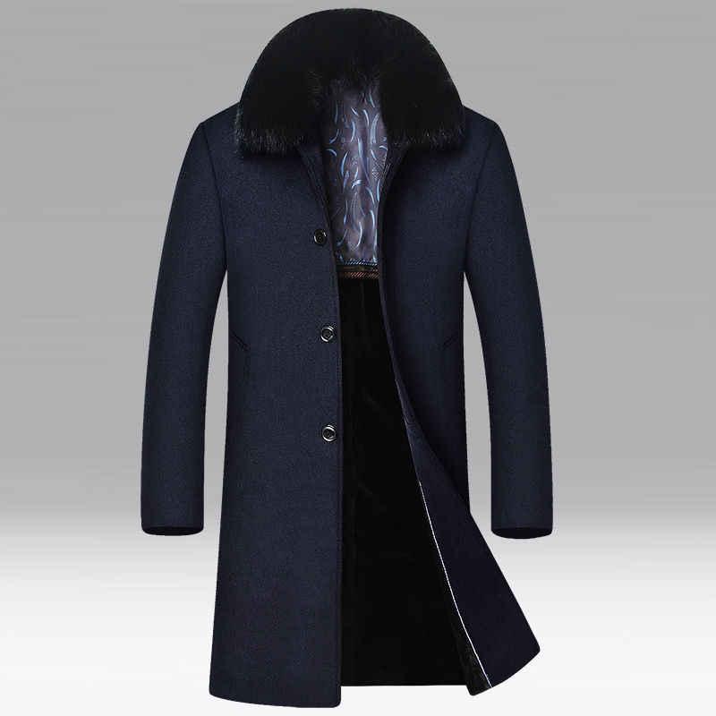 Riinr Marke Männer Wolle Blends Mäntel Winter Abnehmbare pelz kragen Einfarbig männer Wolle Mäntel Luxuriöse Wolle Blends Mantel männlichen