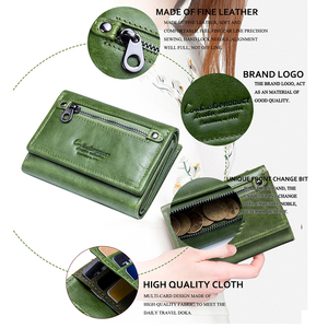 Image 5 - Contacts Women Wallet Clip Genuine Leather Ladies Clutch Wallets Anti Rfid Luxury Money Bag Green Coin Purse Cartera Mujer