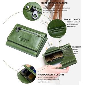 Image 5 - קשר של נשים ארנק קליפ עור אמיתי גבירותיי מצמד ארנקים אנטי Rfid יוקרה כסף תיק ירוק מטבע ארנק Cartera Mujer