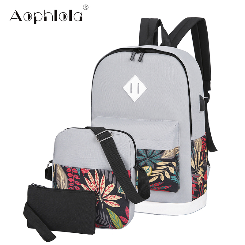 3 Sets Woman Backpack USB Charging Women Travel Backpacks Female School Bag For Teenage Girls Boys Student Book Mochila Satchel