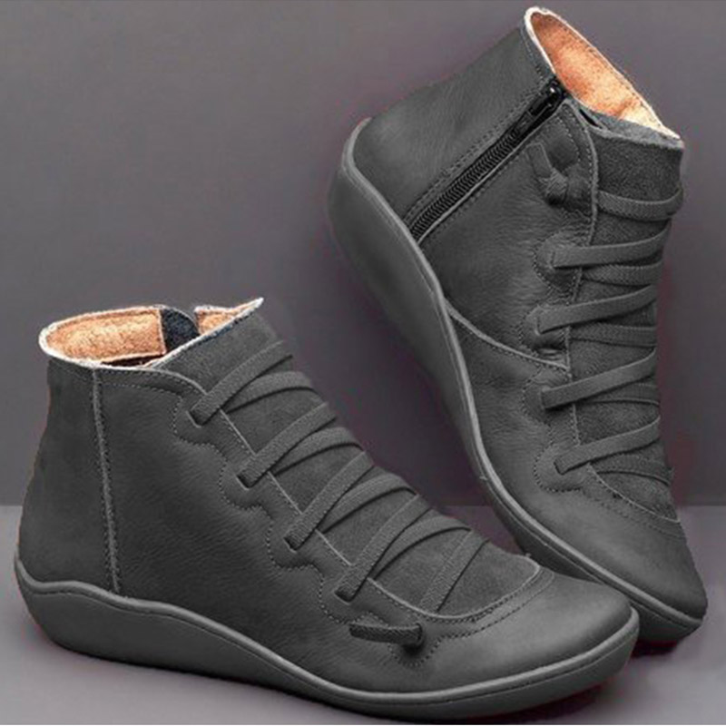 Image 3 - Women's PU Leather Ankle Boots Women Autumn Winter Cross Strappy Vintage Women Punk Boots Flat Ladies Shoes Woman Botas Mujer-in Ankle Boots from Shoes