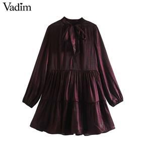 Image 1 - Vadim women elegant wine red mini dress bow tie collar long sleeve straight preppy style cute sweet dresses vestidso QD171