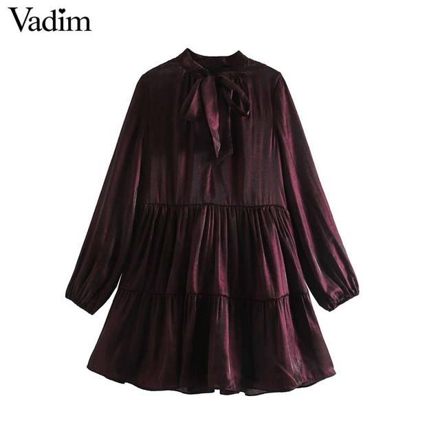 Vadim women elegant wine red mini dress bow tie collar long sleeve straight preppy style cute sweet dresses vestidso QD171