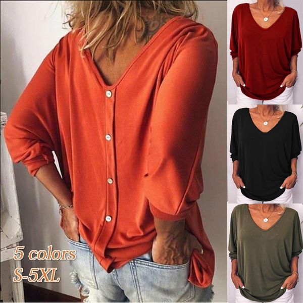 Women Batwing Sleeve T-shirt Casual Three Quarter Sleeve Plus Size Female Tees Fashion Loose Back Buttons V Neck Back Woman Tops