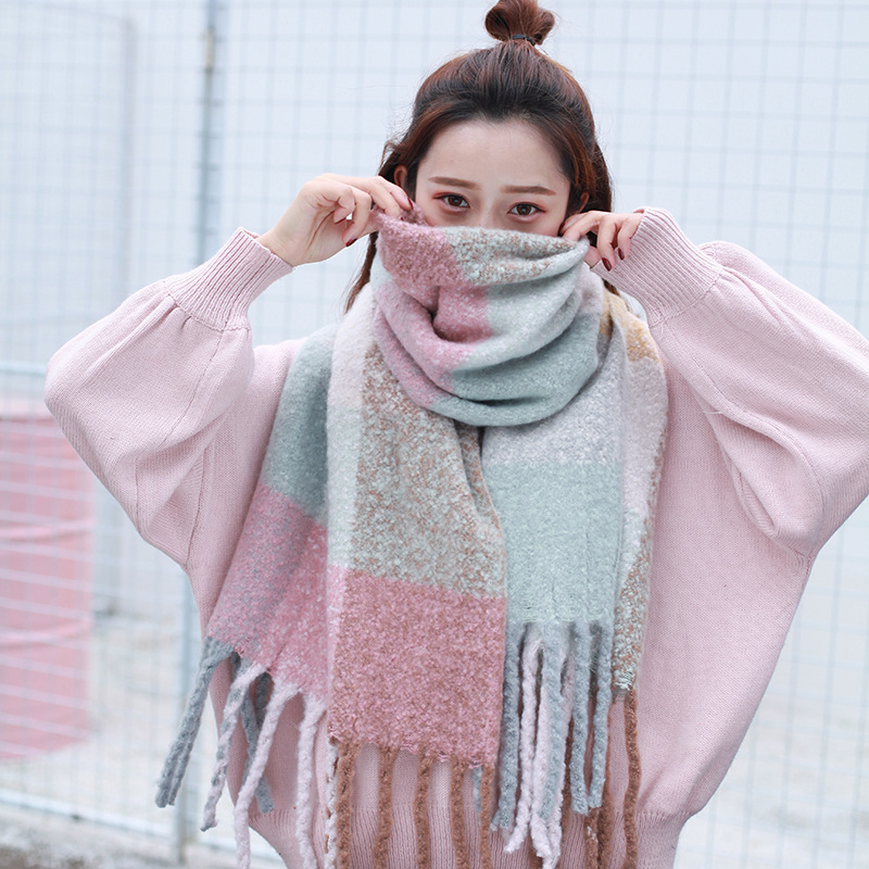 Winter Thick Blanket Chunky Shall Sweet Scarf Japanese Korean Men And Women Warm Faux Cashmere Scarf Warm Plaid Scarf
