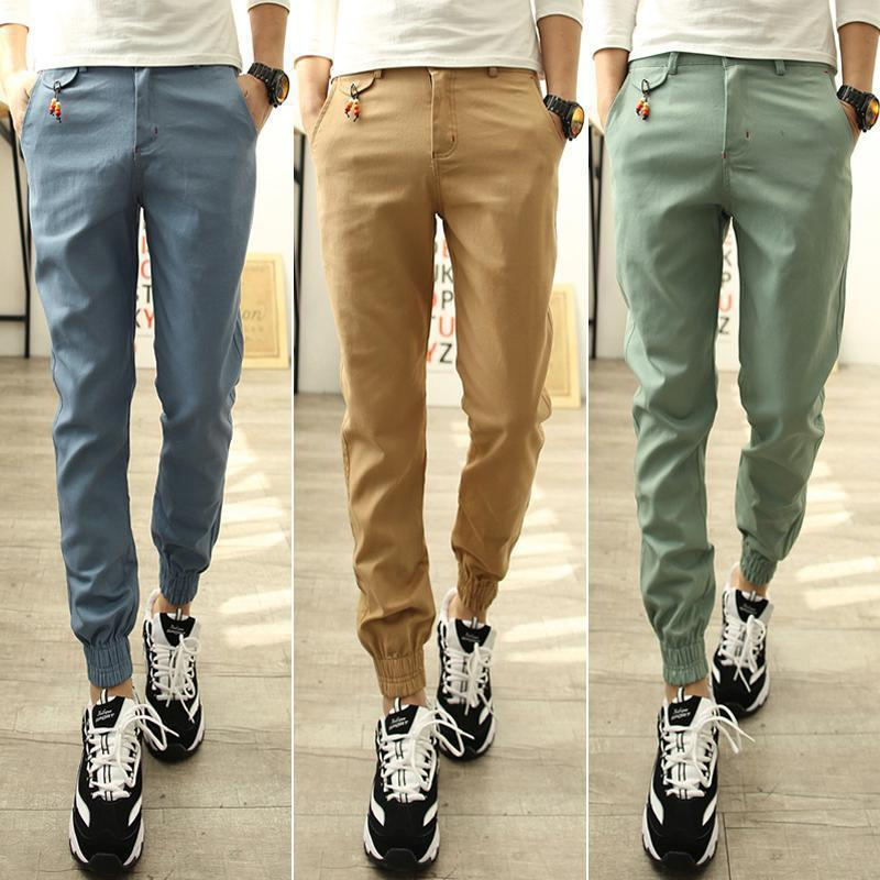 AliExpress Hot Selling Men Slim Fit Casual Beam Leg Trousers Trend Cool Athletic Pants K08
