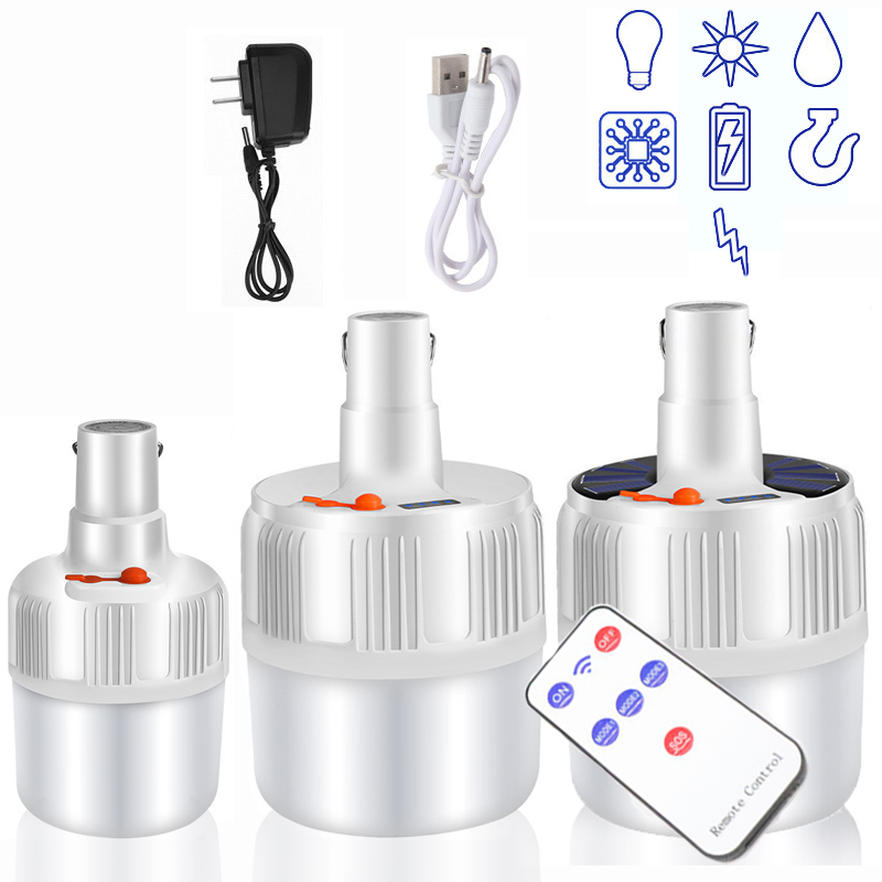 Portable Camping Led Light Bulb Rechargeable Emergency Lights LED Battery Tent Solar Outdoor Lantern Lighting For Patio Garden