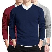 coton pull hommes à manches longues pulls Outwear homme v-cou chandails hauts lâche solide Fit tricot vêtements 8 couleurs nouveau