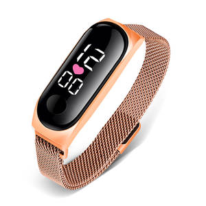 Digital Clock Electronic Watch Watches Women LED Rose-Gold Stainless-Steel Reloj Ladies