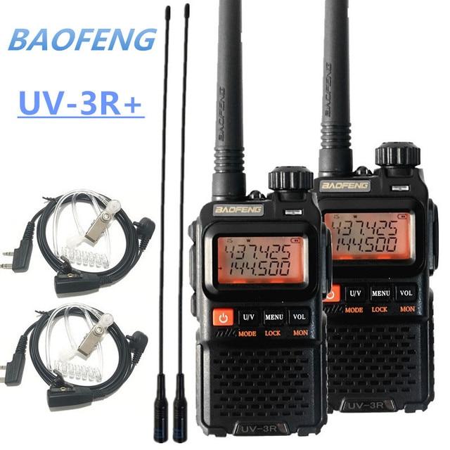 2PCS BAOFENG UV-3R+ Mini Walkie Talkie UHF VHF Portable CB Radio Transceiver UV3R Plus Amateur Ham Radio Station Woki Toki 3W 1