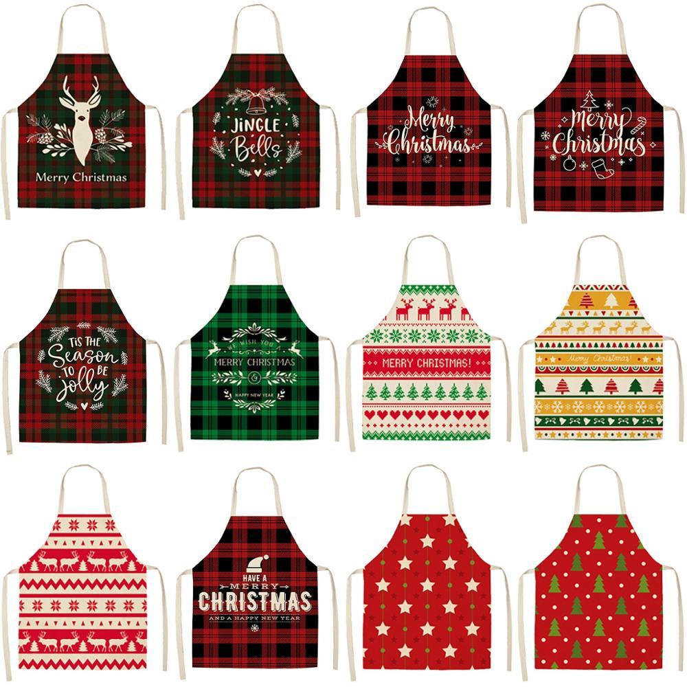 HUIRAN Leinen Plaid Weihnachten Schürze Frohe Weihnachten Dekorationen für Zu Hause Weihnachten Ornamente Natal Navidad 2020 Glücklich Neue 2021
