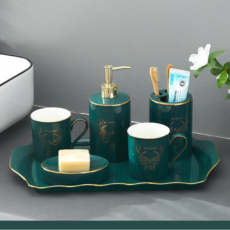 Bathroom Sanitary suit Ware Set Ceramic Washing Tooth Brush Holder wash Cup Soap Dispenser Toothbrush Holder Household Articles