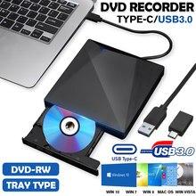 Gravador externo de alta velocidade do leitor de cd dvd da movimentação 4k 3d do tipo-c/usb3.0 para mac, windowslaptop, movimentação portátil do queimador de bd/cd/dvd do pc