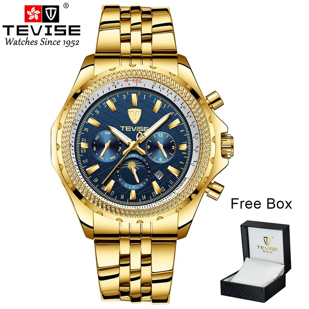 TEVISE Men's Six-pin Mechanical Watch Stainless Steel Belt Box Packaging Luminous Watch Waterproof Solid Belt